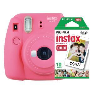 Kit Câmera Instantânea Instax Mini 9 (Rosa Flamingo ou Azul Acqua) + Filme Instax Mini 10 Fotos, Fujifilm - R$299