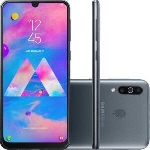 "Smartphone Samsung Galaxy M30 64GB Preto 4G - 4GB RAM Tela 6,4"" Câm. Tripla + Câm. Selfie 16MP   R$1055"