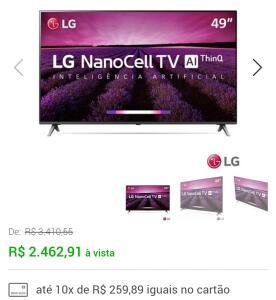 """Smart TV 4K LG LED 49"""" com NanoCell AI, 4K HDR, Dolby Atmos®, WebOS 4.5 e Wi-Fi - 49SM8000PSA"""