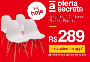 [APP AMERICANAS] Conjunto 4 cadeiras Charles Eames - R$289