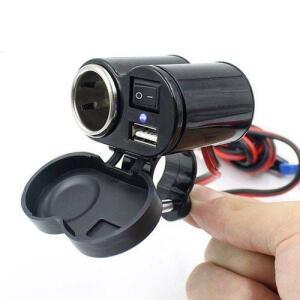 [AME 50%] Tomada 12v USB 5v Para Moto Carregador de Celular e GPS | R$22
