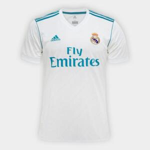 Camisa Real Madrid Home 17/18 - Torcedor Adidas Masculina - Branco e Azul Turquesa | R$144