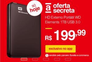 HD Externo Portátil WD Elements 1TB USB 3.0 R$200