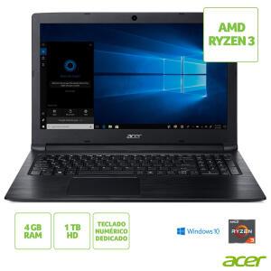 "Notebook Acer Aspire 3, AMD Ryzen™ 3 2200U, 4GB, 1TB, Tela de 15.6"", Preto - A315-41-R790 R$1.979"