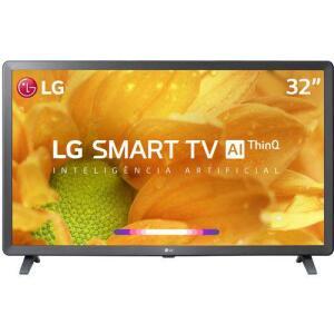 """Smart TV LG LED 32"""" com Comandos de Voz, WebOS 4.5, Upscaler HD, HDR Ativo e Wi-Fi Preta - 32LM625BPSB por R$ 899"""