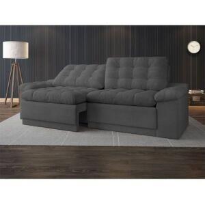 Sofá 4 Lugares Net Confort Assento Retrátil E Reclinável Grafite 2,20m | R$810