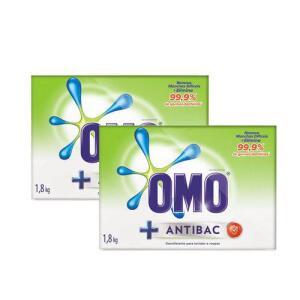 [Cartão Americanas] Kit Sabão Em Pó Omo Antibacteriano 1.8kg 40 Porcento Na 2 Unidade - R$17