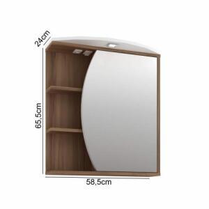Espelheira para Banheiro com LED 1 Porta 3 Prateleiras Duna Móveis Bosi Nogal/Branco