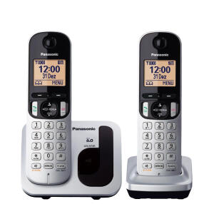 Telefone Sem Fio Com Identificador de Chamadas + 1 Ramal Panasonic DECT 6.0 Prata - KX-TGC212LB1 | R$136