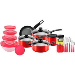 Jogo de Panelas 5 Pçs Antiaderente Vermelhas + Potes de Vidro com Tampa Vermelha 5 pçs + Faqueiro Tramontina 20 pçs | R$150