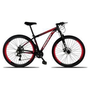 Bicicleta Aro 29 DROPP Alumínio 21 Marchas Freio a Disco - Preto e Vermelho R$870