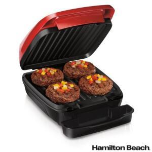 Grill Elétrico Hamilton Beach com Capacidade para 04 Hambúrgueres 220V - 25355-BZ - R$180