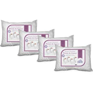 Kit 4 Travesseiros 100% Penas de Ganso Antialérgicos 45x65cm - Home Basics