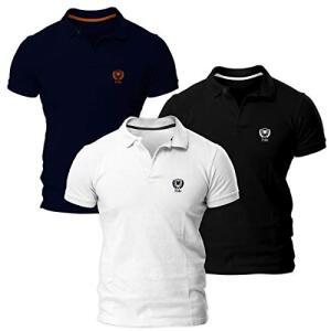 Kit com Três Camisas Polo Piquet Regular Fit Brasão - POLO Match | R$88