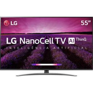 "Smart TV NanoCell 4K LG LED 55"" com WebOS 4.5, Controle Smart Magic e Wi-Fi - 55SM8100PSA - R$3190"