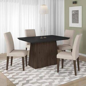 Conjunto Sala De Jantar 4 Cadeiras Italia Imbuia Arapongas por R$ 599
