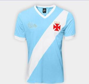 Camiseta Vasco nº 1 Martin Silva Masculina - Azul Claro e Branco
