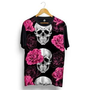 Camiseta BSC Skull Pink Rose Full Print - Preto - R$30