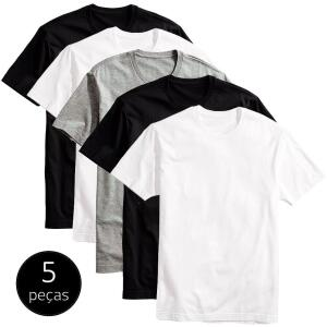 Kit 5 Camisetas Básicas Masculina T-Shirt Algodão Colors Tee por R$69,90
