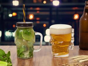 Conjunto de Caneca Vidro para Cerveja - Lyor Caveira Rock Style | R$22