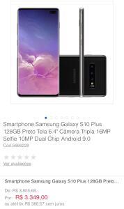 "Smartphone Samsung Galaxy S10 Plus 128GB Preto Tela 6.4"" Câmera Tripla 16MP Selfie 10MP Dual Chip Android 9.0"