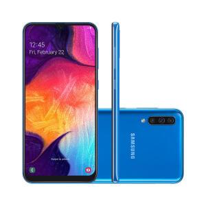 "Smartphone Samsung Galaxy A50 64GB Azul 4G Tela 6.4"" Câmera Tripla 25MP Selfie 25MP Dual Chip Android 9.0 - R$1299"