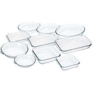 Conjunto de Travessas Marinex 10 Peças em Vidro - R$114