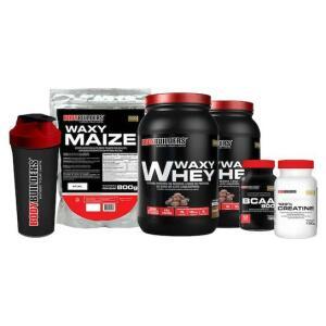 Kit 2X Waxy Whey 900G + Bcaa 4,5 + Creatine 100G + Waxy Maize 800G + Coqueteleira por R$ 100