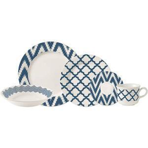 Aparelho de Jantar 20 Peças Cerâmica Prisma Branco/Azul - La Cuisine por R$ 100