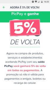 [PICPAY] 5% de volta em compras de produtos e serviços no PicPay