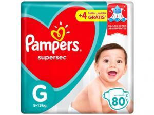 Fraldas Pampers Supersec Tam. G - 80 Un. (R$0,81 a tira) - R$65