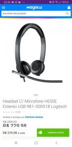 Headset C/ Microfone H650E Estereo USB 981-000518 Logitech