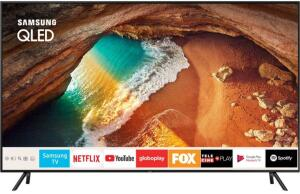 "Smart TV QLED 55"" Samsung 55Q60 Ultra HD 4K com conversor Digital 4 HDMI 2 USB Wi-Fi Modo Ambiente 120Hz- Preta"