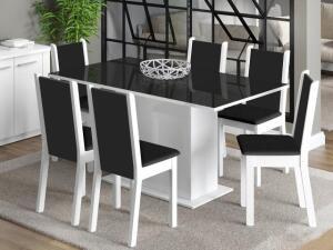 Conjunto de Mesa com 6 Cadeiras Estofadas Madesa - Moscou Plus R$ 475