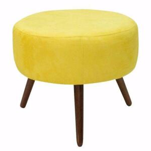 Kit 02 Puffs/Poltrona em Suede Amarelo R$170