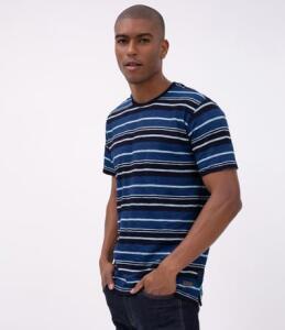 Camiseta Regular Listrada - Azul | R$20