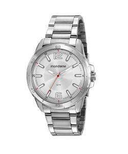 kit de relógio analógico mondaine masculino + kit manicure - 53791g0mvne2k prateado