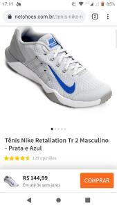Tênis Nike Retaliation Tr 2 Masculino - Prata e Azul