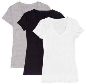( Com AME R$28,00 ) Kit Com 3 Blusas Femininas Part.b Decote V Colors