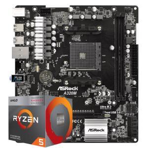 PICHAU KIT UPGRADE, AMD RYZEN 5 3400G, ASROCK A320M-HD DDR4 - R$1.025