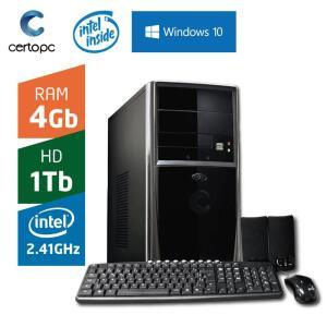 Computador Intel Dual Core 2.41GHz 4GB HD 1TB com Windows 10 Certo PC FIT 1031 - R$1105