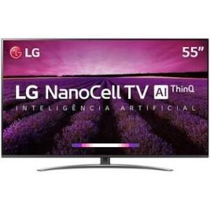 """Smart TV LED 55"""" LG 55SM8100PSA Super Ultra HD/4K 4 HDMI 3 USB Preta Conversor Digital Integrado"""