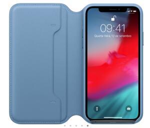Capa Folio para iPhone XS Max de Couro Azul Cape Cod - Apple - MRX52ZM/A