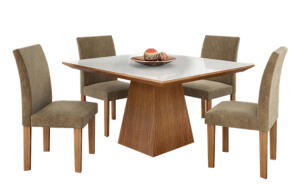 Mesa de Jantar Pietra, 4 Cadeiras, MDF, Com Tampo de Vidro - R$ 785