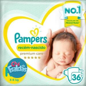 Fraldas Pampers Premium Care RN+ [Kit com 108 Unidades] R$52