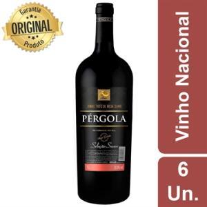 Kit 6 Vinho Nacional Pérgola Tinto Suave Garrafa 1 Litro | R$94