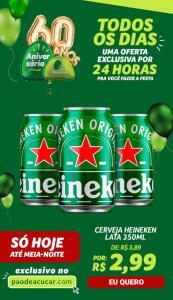 Cerveja Heineken lata 350ml só 2,99