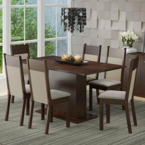 Conjunto Sala de Jantar Lousiana Madesa com 6 Cadeiras | R$640