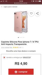 [AME R$4,70] Capinha Silicone para iPhone 7/8 TPU Anti Impacto transparente
