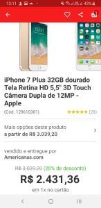 [AME R$2334,10] iPhone 7 plus 32gb